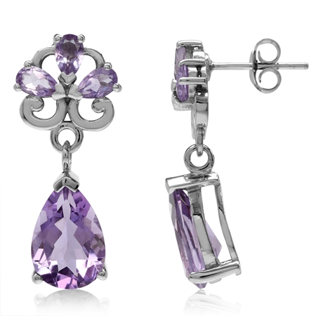 6.38ct. Natural Pear Amethyst White Gold Plated 925 Sterling Silver Drop Dangle Post Earrings