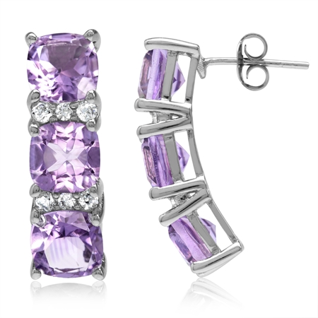 8.16ct. 3-Stone Natural Cushion Shape Amethyst White Gold Plated 925 Sterling Silver Post Earrings