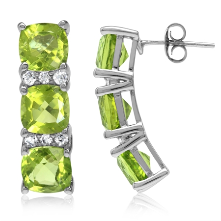 9.78ct. 3-Stone Natural Cushion Shape Peridot White Gold Plated 925 Sterling Silver Post Earrings