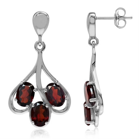 6ct. 3-Stone Natural Garnet White Gold Plated 925 Sterling Silver Dangle Post Earrings