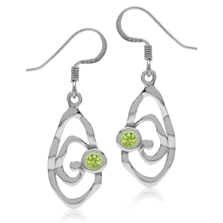 Natural Peridot White Gold Plated 925 Sterling Silver Textured Spiral Dangle Hook Earrings