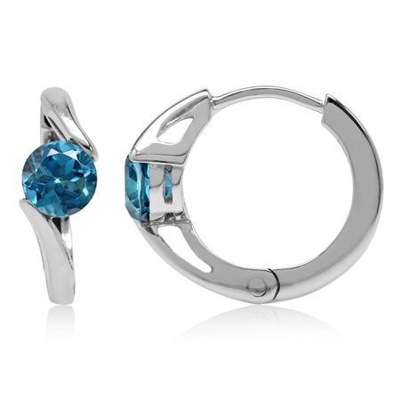 1.24ct. 5MM Genuine London Blue Topaz White Gold Plated 925 Sterling Silver Huggie/Hoop Earrings