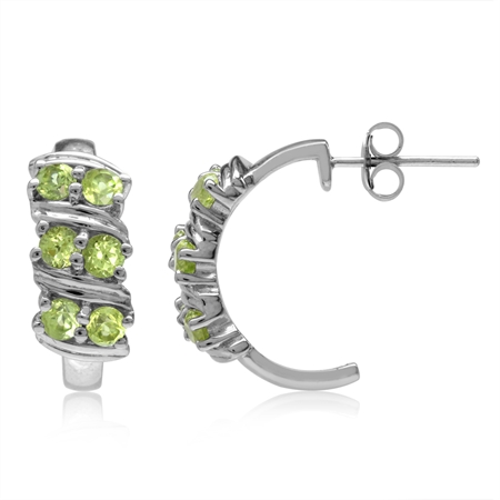 1.44ct. Natural Peridot Double Row White Gold Plated 925 Sterling Silver C-Hoop Earrings
