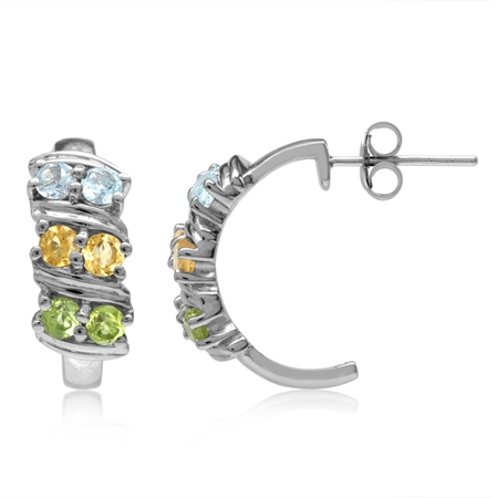 Natural Peridot, Citrine & Topaz Double Row White Gold Plated 925 Sterling Silver C-Hoop Earrings