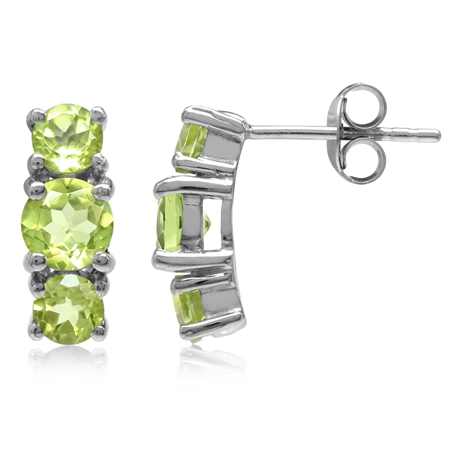 2.22ct. 3-Stone Natural Round Shape Peridot White Gold Plated 925 Sterling Silver Post Earrings