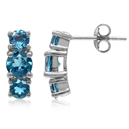 2.56ct. 3-Stone Genuine Round London Blue Topaz White Gold Plated 925 Sterling Silver Post Earrings
