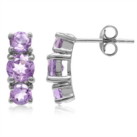 2.38ct. 3-Stone Natural Round Shape Amethyst White Gold Plated 925 Sterling Silver Post Earrings