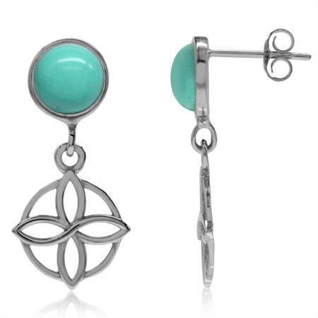 Created Green Turquoise Gold Plated 925 Sterling Silver Flower Celtic Knot Dangle Post Earrings
