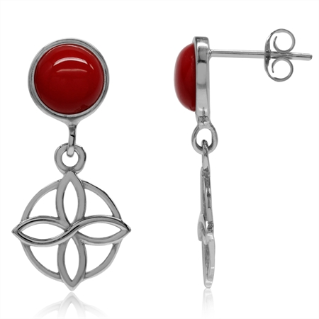 Created Red Coral White Gold Plated 925 Sterling Silver Flower Celtic Knot Dangle Post Earrings