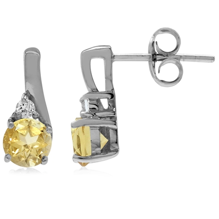 Natural Citrine & White Topaz Gold Plated 925 Sterling Silver Stud/Post Earrings