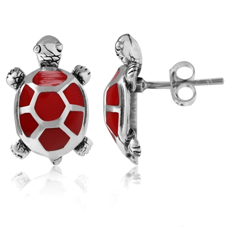 Created Red Coral Inlay 925 Sterling Silver TURTLE Post Earrings
