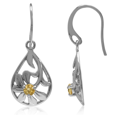 Natural Citrine White Gold Plated 925 Sterling Silver Filigree Flower & Leaf Drop Dangle Earrings