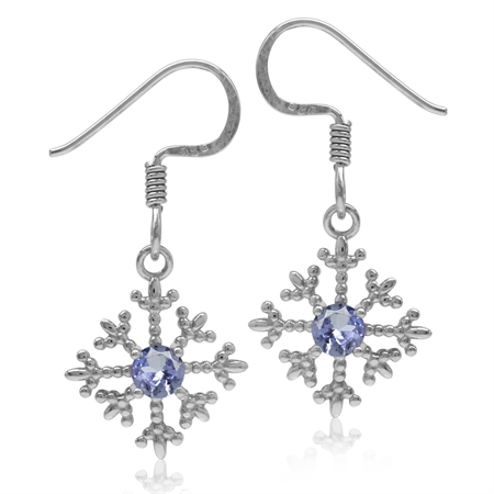 Genuine Tanzanite White Gold Plated 925 Sterling Silver Petite Snowflake Dangle Hook Earrings