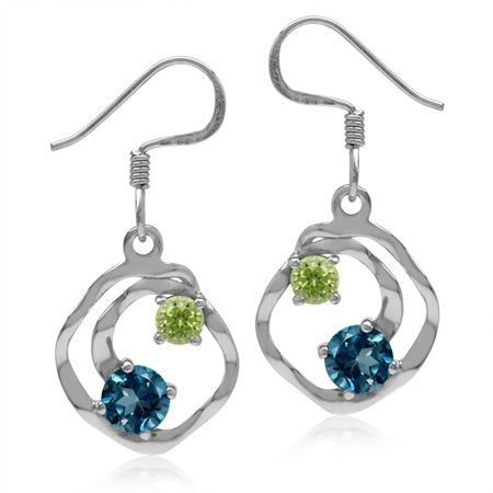 1.24ct. Genuine London Blue Topaz & Peridot 925 Sterling Silver Textured Spiral Dangle Hook Earrings