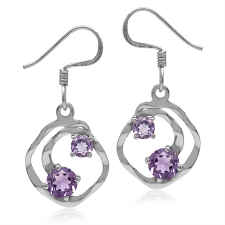 1.22ct. Natural Amethyst White Gold Plated 925 Sterling Silver Textured Spiral Dangle Hook Earrings