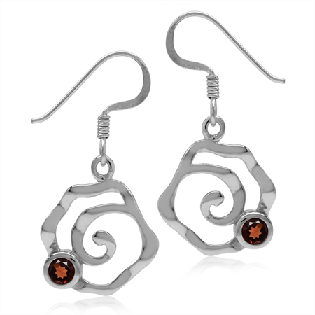 Natural Garnet White Gold Plated 925 Sterling Silver Textured Spiral Dangle Hook Earrings
