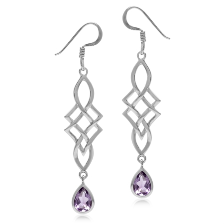 1.28ct Natural Amethyst White Gold Plated 925 Sterling Silver Celtic Knot/Weave Dangle Hook Earrings