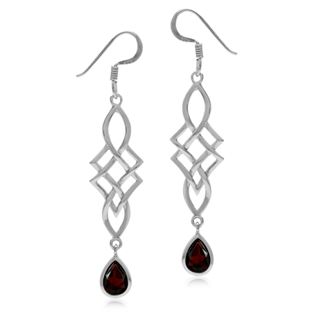 1.66ct. Natural Garnet White Gold Plated 925 Sterling Silver Celtic Knot/Weave Dangle Hook Earrings