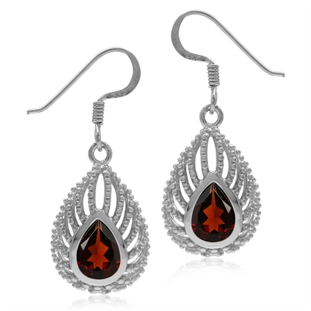 3.02ct Natural Pear Shape Garnet 925 Sterling Silver Filigree Peacock Inspired Drop Dangle Earrings