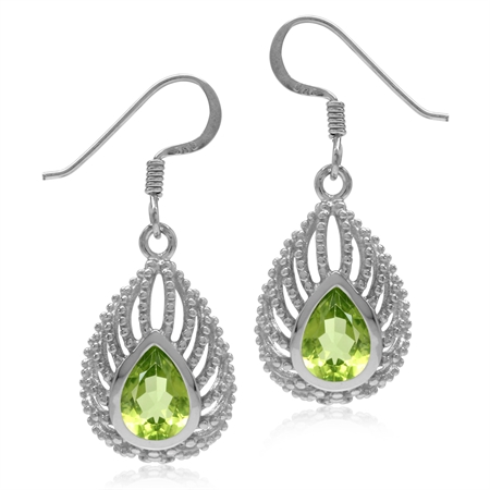 1.92ct. Pear Natural Peridot 925 Sterling Silver Filigree Peacock Inspired Drop Dangle Hook Earrings
