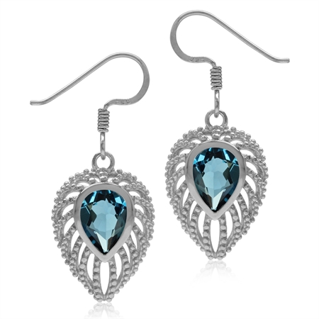 2.56ct. Genuine London Blue Topaz 925 Sterling Silver Filigree Peacock Inspired Drop Dangle Earrings