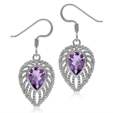 2.02ct. Pear Natural Amethyst 925 Sterling Silver Filigree Peacock Inspired Drop Dangle Earrings
