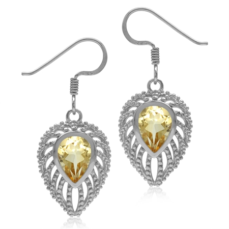 2ct. Natural Pear Shape Citrine 925 Sterling Silver Filigree Peacock Inspired Drop Dangle Earrings