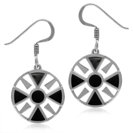 Created Black Onyx White Gold Plated 925 Sterling Silver Southwest Inspired Circle Dangle Earrings
