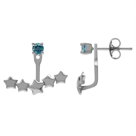 Clearance! Genuine London Blue Topaz 925 Sterling Silver 5-Star 2-Way Stud & Ear Jacket Earrings