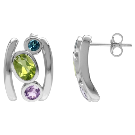Natural Peridot, Amethyst & London Blue Topaz 925 Sterling Silver Modern Style Post Earrings