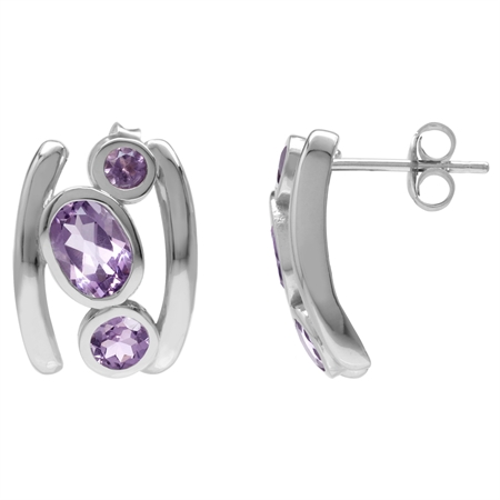 2.54ct. 3-Stone Natural Amethyst White Gold Plated 925 Sterling Silver Modern Style Post Earrings