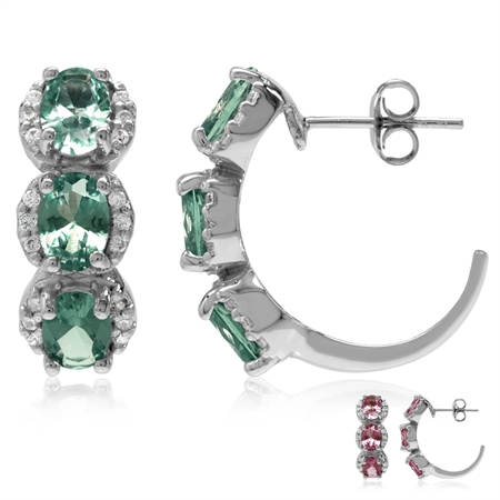 3-Stone Oval Shape Simulated Color Change Alexandrite 925 Sterling Silver C-Hoop Earrings