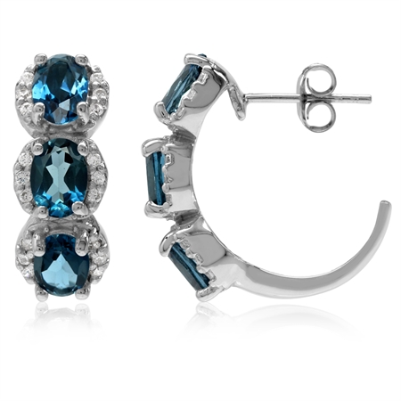 5.7ct. 3-Stone Genuine Oval London Blue Topaz White Gold Plated 925 Sterling Silver C-Hoop Earrings