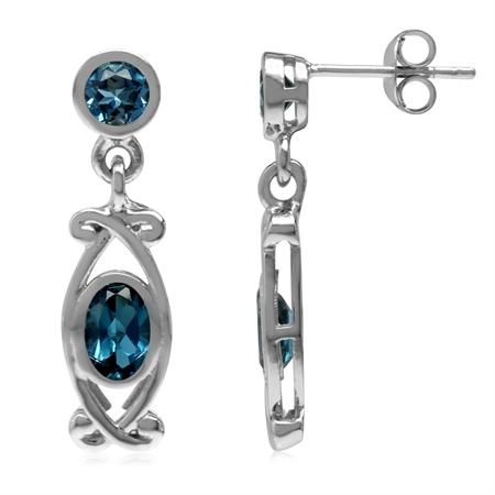 1.74ct. Genuine London Blue Topaz 925 Sterling Silver Victorian Style Dangle Post Earrings