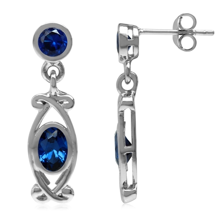 Synthetic Sapphire Blue White Gold Plated 925 Sterling Silver Victorian Style Dangle Post Earrings