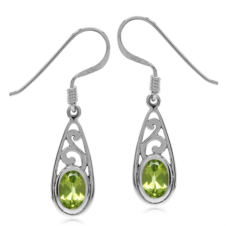 Natural Arizona Peridot White Gold Plated 925 Sterling Silver Filigree Drop Dangle Hook Earrings