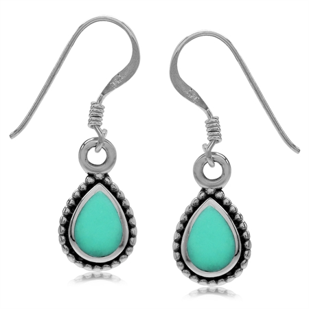 Pear Created Green Turquoise Inlay 925 Sterling Silver Bali/Balinese Style Drop Dangle Hook Earrings