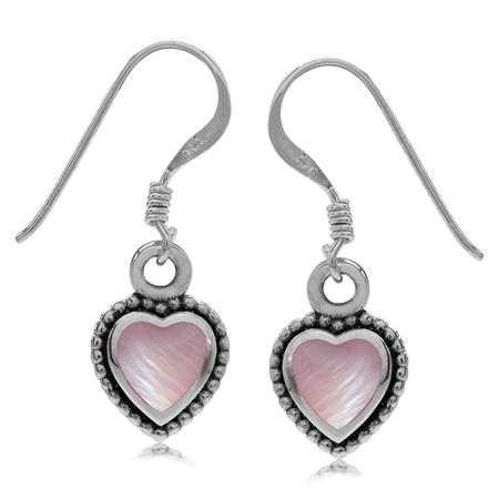 Heart Shape Pink Mother Of Pearl Inlay 925 Sterling Silver Balinese Style Drop Dangle Hook Earrings