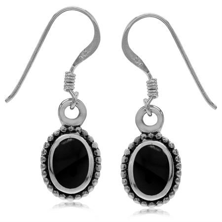 Oval Shape Created Black Onyx Inlay 925 Sterling Silver Balinese Style Drop Dangle Hook Earrings