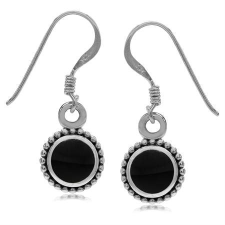 Round Shape Created Black Onyx Inlay 925 Sterling Silver Balinese Style Drop Dangle Hook Earrings