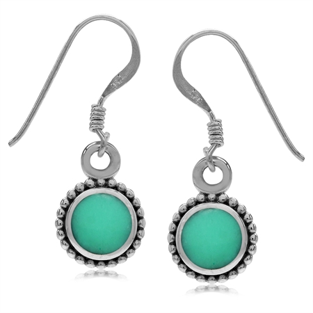 Round Shape Created Green Turquoise Inlay 925 Sterling Silver Balinese Style Drop Dangle Earrings