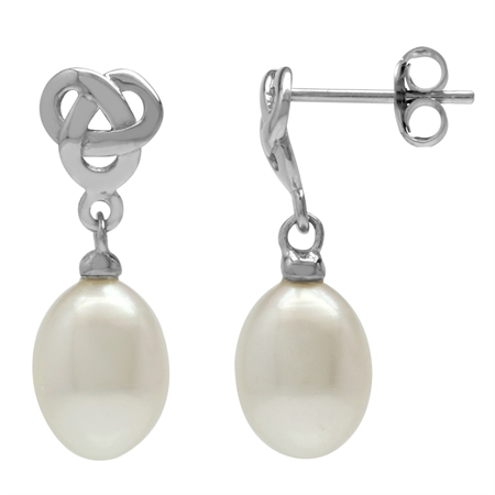 Cultured Freshwater White Pearl 925 Sterling Silver Celtic Weave Knot Dangle Post Earrings