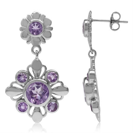 4.12ct. Natural Round Amethyst White Gold Plated 925 Sterling Silver Flower Dangle Post Earrings