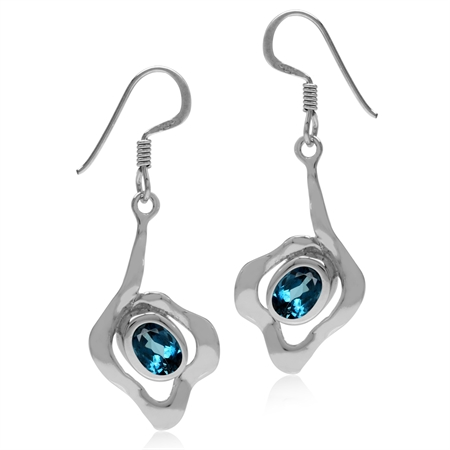 1.82ct Genuine Oval London Blue Topaz White Gold Plated 925 Sterling Silver Textured Dangle Earrings