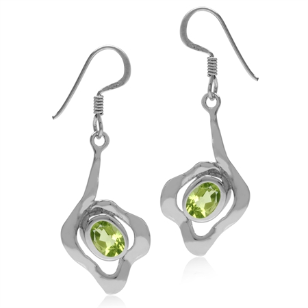 1.76ct. Natural Oval Shape Peridot White Gold Plated 925 Sterling Silver Textured Dangle Earrings