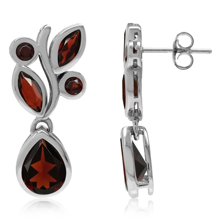 6.68ct. Natural Garnet White Gold Plated 925 Sterling Silver Leaf Dangle Post Earrings