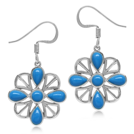 Created Blue Turquoise White Gold Plated 925 Sterling Silver Southwest Inspired Dangle Hook Earrings