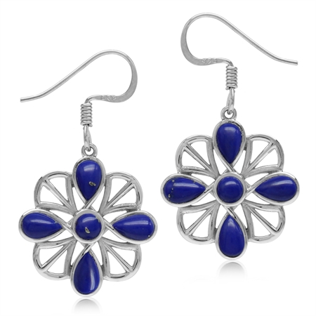 Created Blue Lapis White Gold Plated 925 Sterling Silver Southwest Inspired Dangle Hook Earrings
