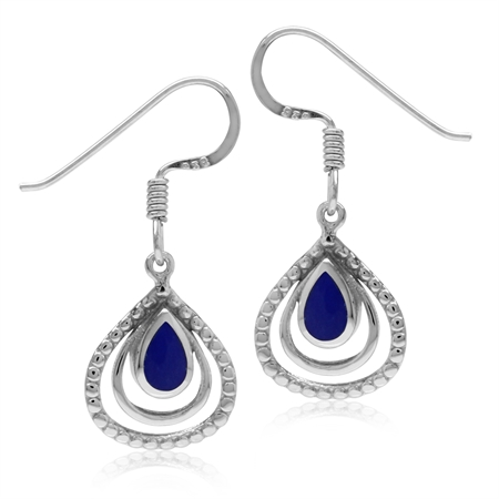 Created Blue Lapis White Gold Plated 925 Sterling Silver Drop Dangle Hook Earrings