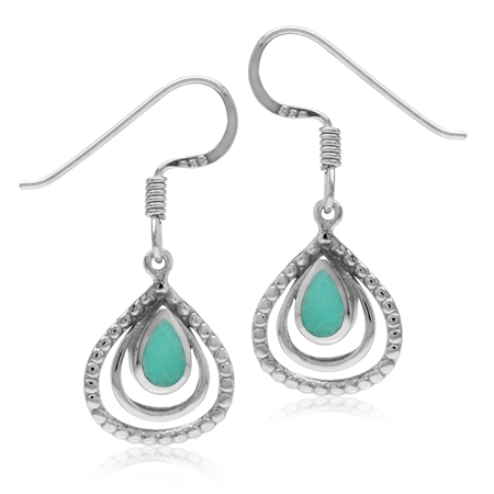 Created Green Turquoise White Gold Plated 925 Sterling Silver Drop Dangle Hook Earrings